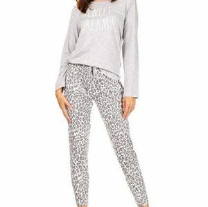 "Rae Dunn ""Sweet Dreams"" grey and leopard pajamas"